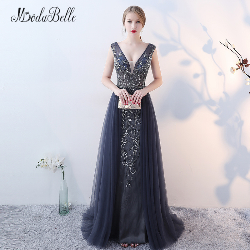 modabelle Luxury Beaded   Evening     Dresses   With Crystals Sparking Open Back Tulle Long Gowns Prom 2018 Branded New Robe De Soiree