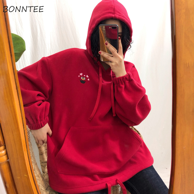 Hoodies Women Cartoon Embroidered Unisex Couple Clothes Hooded Solid Thicker Plus Velvet Loose Pocket Womens Leisure Students