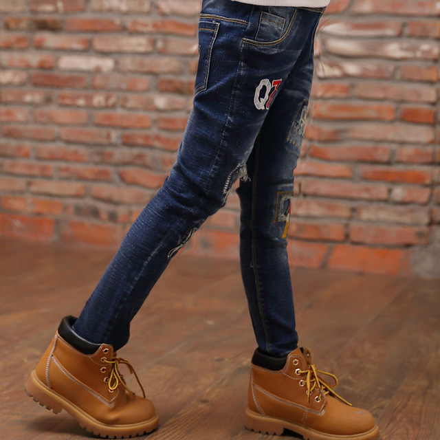 Pantalon Fillette Children Pants Trousers Fashion 2017 New Arrival Ripped Jeans For Kids NZK0027