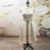 Vintage Champagne Plus Size Wedding Dress Lace Vestido de Noiva Curto Cap Sleeve Wedding Gowns Bow Tea Length Bride Dresses 2018