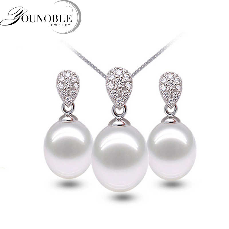Real 925 silver jewelry set women,natural freshwater pearl pendant necklace earring sets party gift