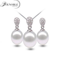 цена Real 925 silver jewelry set women,natural freshwater pearl pendant necklace earring sets party gift онлайн в 2017 году