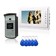 816MEID11 Free Shipping 7″Video Door Intercom Camera With 5 PCSS RFID Keyfobs Outdoor Unit