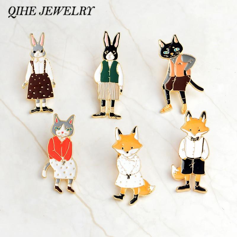 QIHE ювелирные булавки и броши кролик/лиса/кошка пара эмаль значки шляпа рюкзак интимные аксессуары ювелирный подарок для возлюбленных для влюбленных