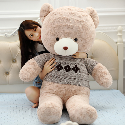big plush round eyes gray sweater teddy bear toy huge bear doll gift about 160cm
