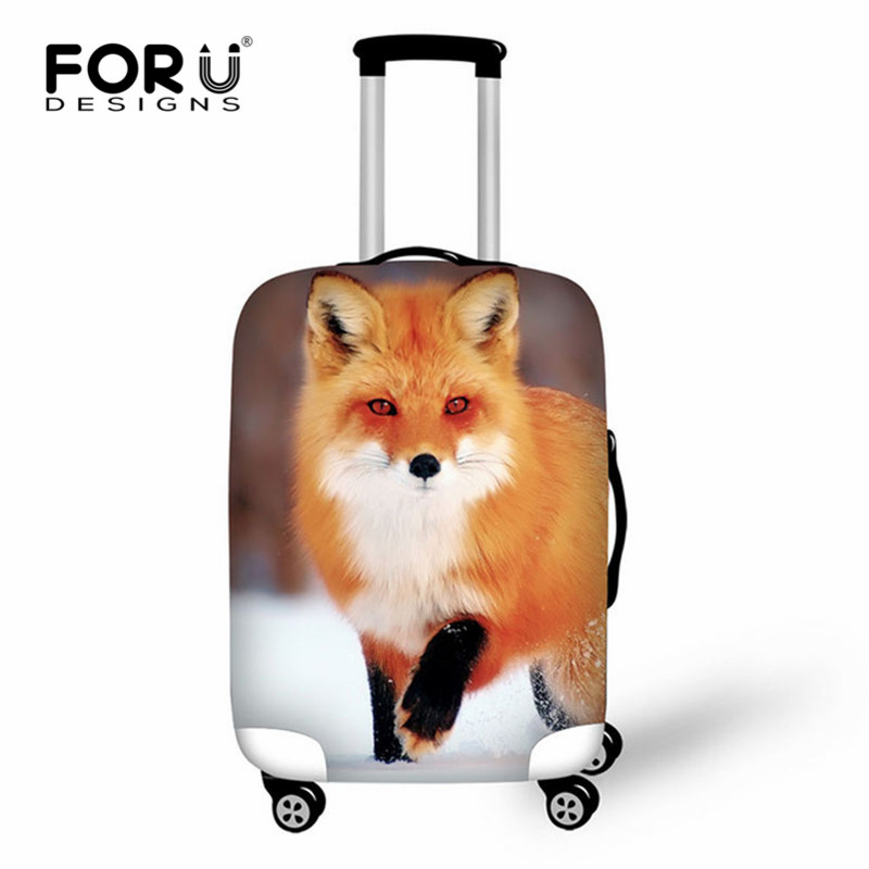 FORUDESIGNS 2019 Cute Fox Luggage Cover For Suitcase Bags Travel Accessories For Men's Women Waterproof Protective Suitcase Case