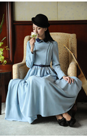 Free ship light blue peterpan collar embroidery lace medieval dress Victorian Gothic/Marie Antoinette/civil war/Colonial Belle