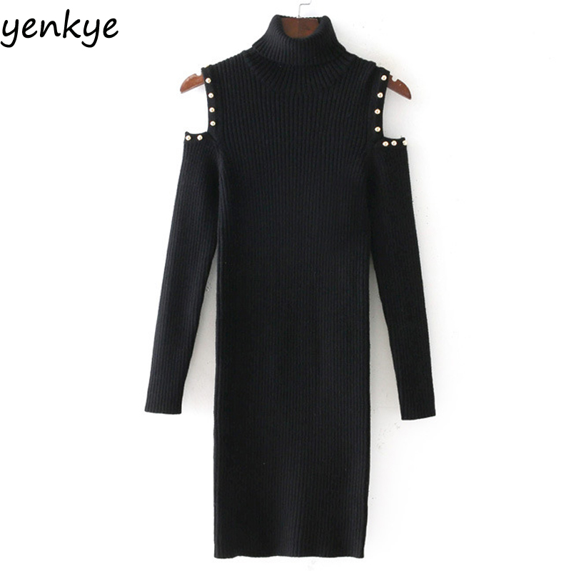 Winter Women Fashion Shoulder Off Faux Pearl Knitted Dress Vintage Black Long Sleeve Turtleneck Casual Bodycon Dress  Sexy spring autumn woman dress faux pearl rhinestone beading sleeve cuff knitted dress fashion vintage elastic black red party dress