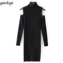 Зимние Для женщин модные плечо с искусственным жемчугом вязаное платье Винтаж черная водолазка с длинным рукавом Повседневное Bodycon платье сексуальные