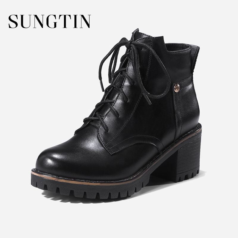 Sungtin New Genuine Leather Black Riding Boots Women Lace Up Plush Warm Winter Short Ankle Boots Ladies Casual High Heel Booties цена