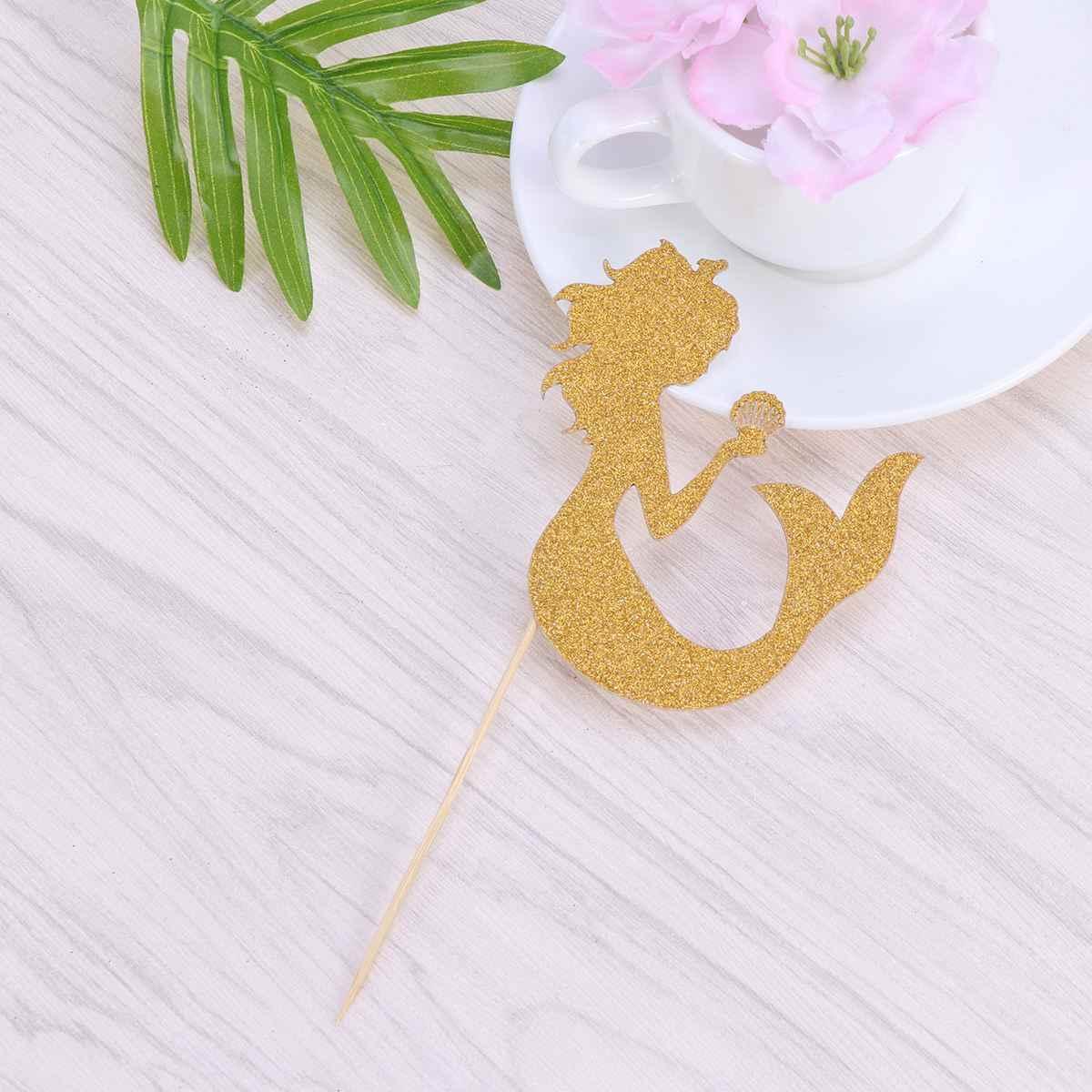 24 шт форма русалки блестящая бумага торт вставляющаяся карта торт кекс Decoration украшение (Золотой, бамбуковый стиль палочки)