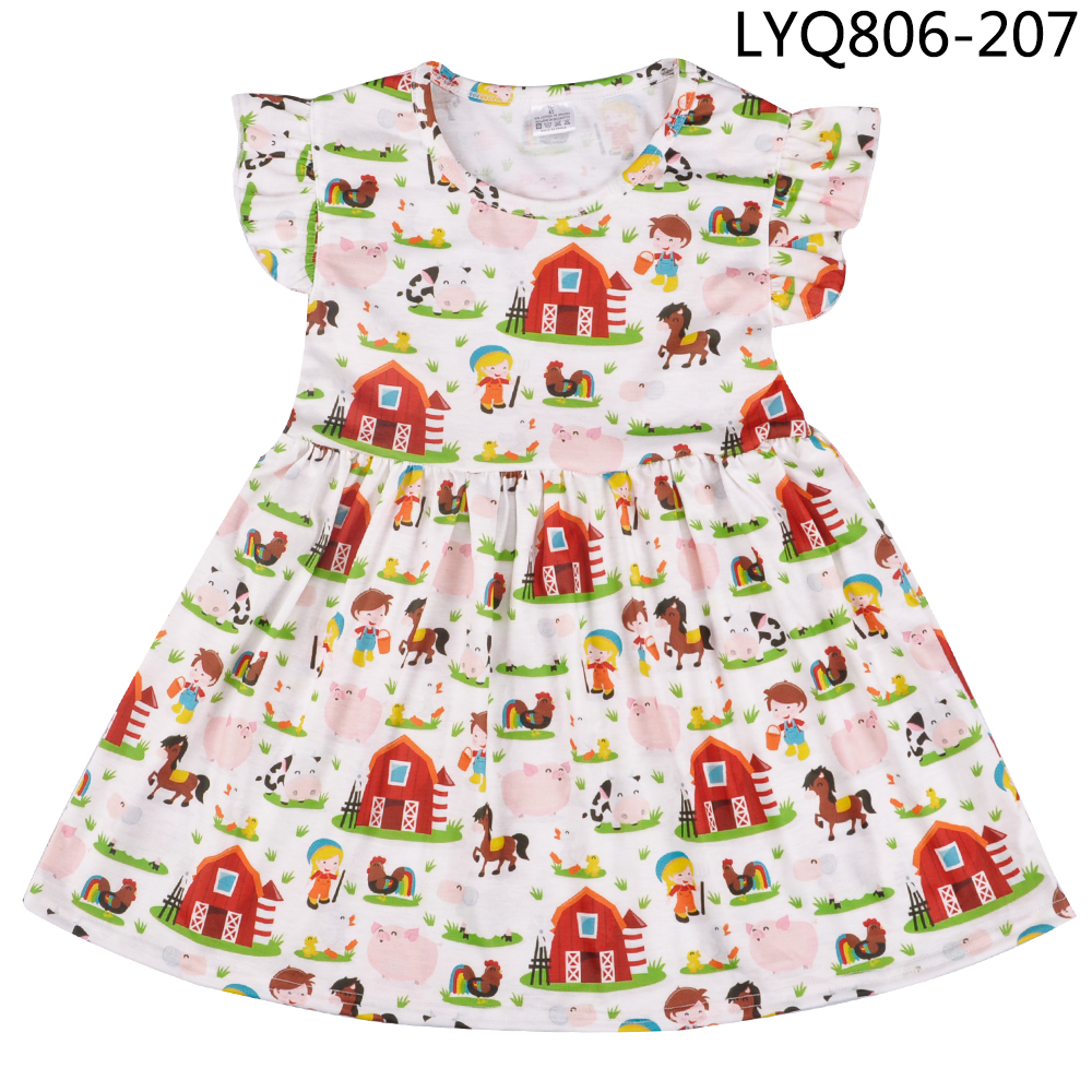 Halloween Hot Sale Toddler Girl Clothes Cartoon Animal Pattern Girl Clothing Party Dresses Children Clothes Factory Wholesale