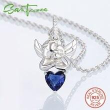 Серебряный Кулон Подходит Для Ожерелье для Женщин Angel Holding Голубое Сердце Дамы Подвеска Pure 925 Стерлингового Серебра Ювелирные Изделия