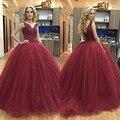 Borgoña Correas Puffy Balón vestido de Baile Vestidos Largos 2017 Del Tanque princesa Con Cuentas de Encaje Con Cuello En V Prom Vestidos Por Encargo Grande Puffy