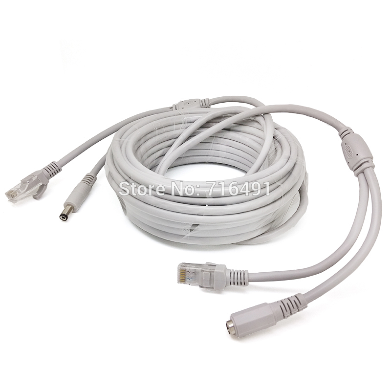 20M/65FT Ethernet Cable RJ45 + DC Power CAT5/CAT-5e CCTV network Cable Lan Cable For IP Camera Wi-Fi NVR System
