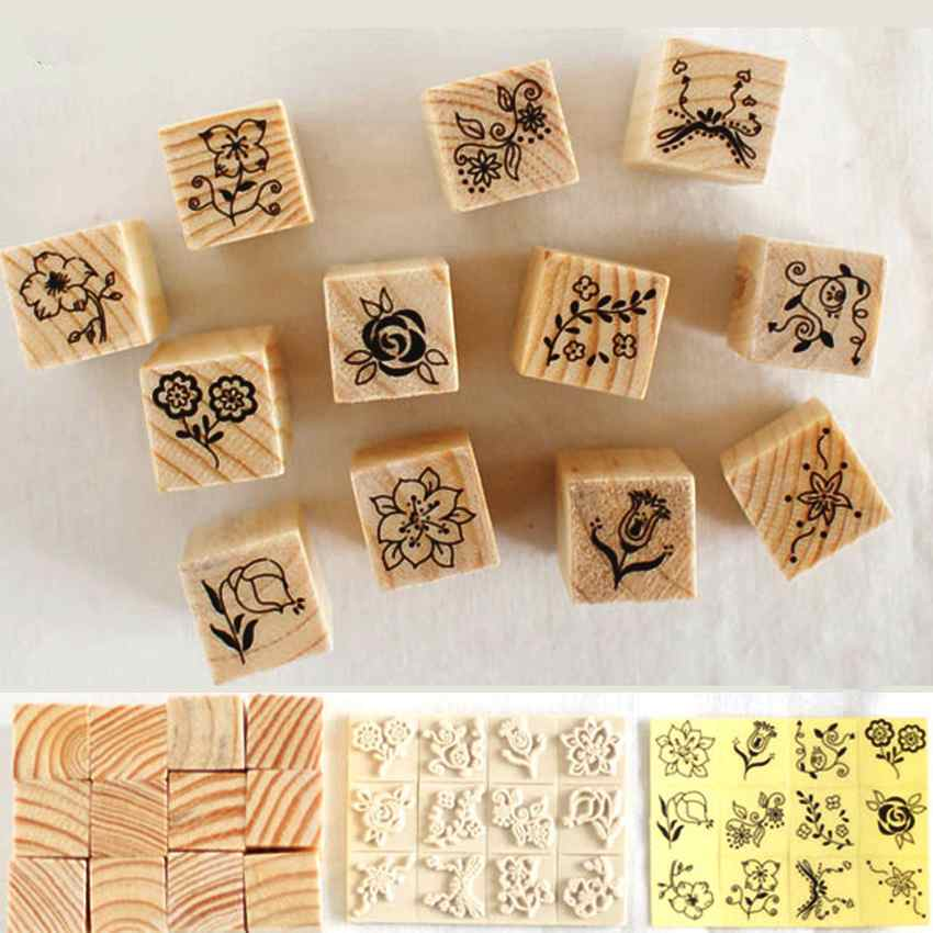 12pcs vintage flower lace square wooden rubber stamp seal for Custom craft rubber stamps