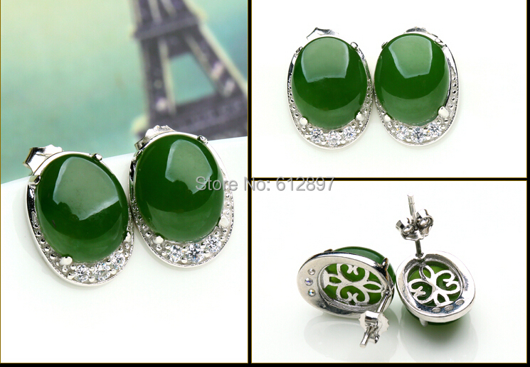 100% Natural Green Jadeite / Chinese new 925 Sterling Silver Stud Earrings With Certificate Stamp 925 fashion pure 925 sterling silver green chinese 100% natural jadeite pendant with certificate