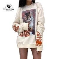 Для женщин толстовки 2018 осень зима белые кофты с принтом кота Свободный пуловер с круглым вырезом и длинными рукавами Толстовка Для женщин