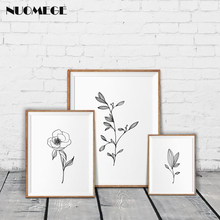 Minimalist Wall Art Pencil Leaf Drawings Canvas Painting Black and White Posters Prints Nordic Decoration Pictures Bedroom Decor