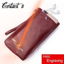 Contacts nouveau cuir véritable femme portefeuilles longue pochette femme sac à main marque Design téléphone sac pour femme 2020 mode monnaie portefeuille