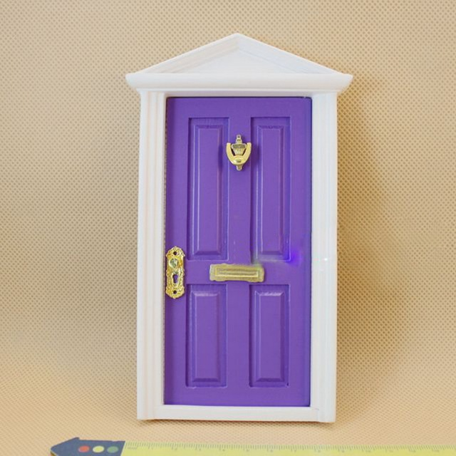 1 Set DIY Doll House Colorful Spire Door 1  12 Scale Wood Miniature Dollhouse Furniture & 1 Set DIY Doll House Colorful Spire Door 1 : 12 Scale Wood ...