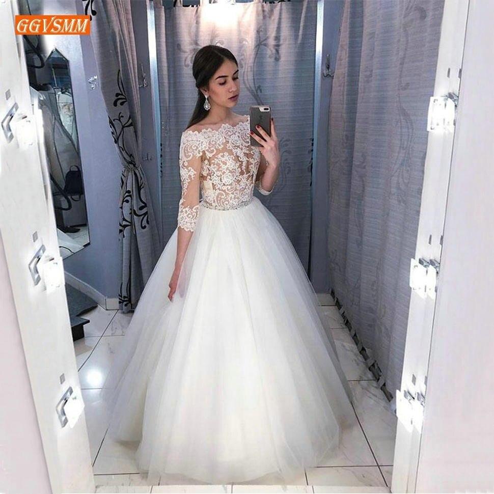 Elegant Transparent White LaceTop Wedding Dress 3 4 Sleeve 2019 Ivory Bridal Dresses Tulle A Line