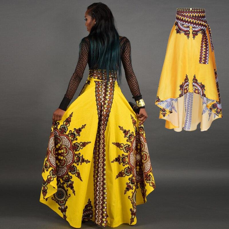 Women African Dashiki Print Ankara Maxi High Waist Elastic Long casual wax Skirt