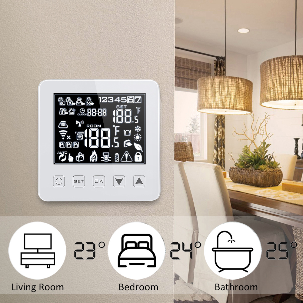 Alexa 3A Programmable Winter Smart WiFi Thermostat For Water Gas Boiler Heating Floor Touchscreen Room Temperature