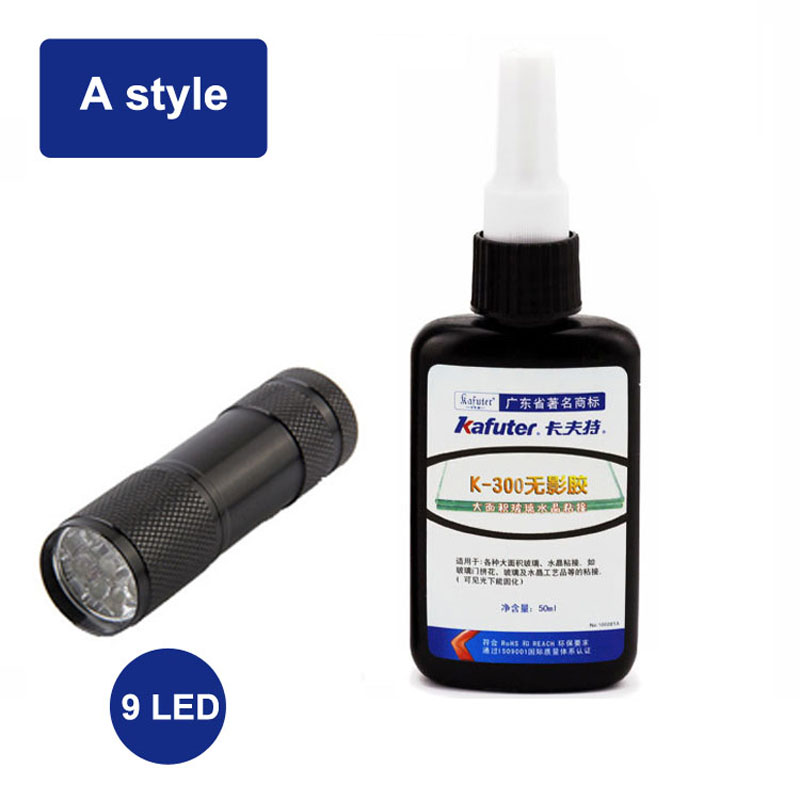 Kafuter 50ml UV Glue UV Curing Adhesive K-300 Transparent Crystal and Glass Adhesive with UV Flashlight
