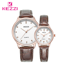 2017 Hot Sale Free shipping Kezzi Brands Women Man Leather Strap Watches Lover Diamond Watches Wristwatches Quartz watch k1664