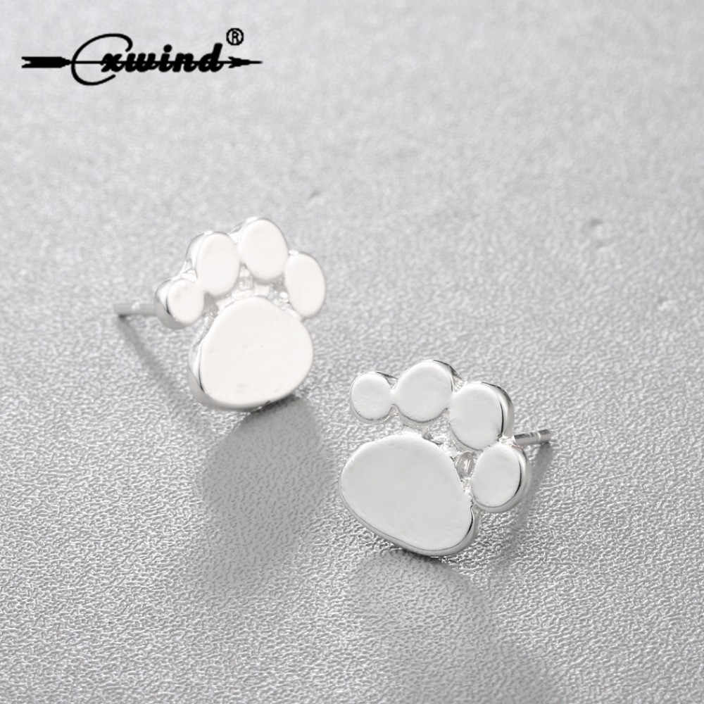 Cxwind Foot Print Stud Earrings Cats Dogs Bears Paws Print Heart Earring Animal Jewelry for children for pets lovers gift