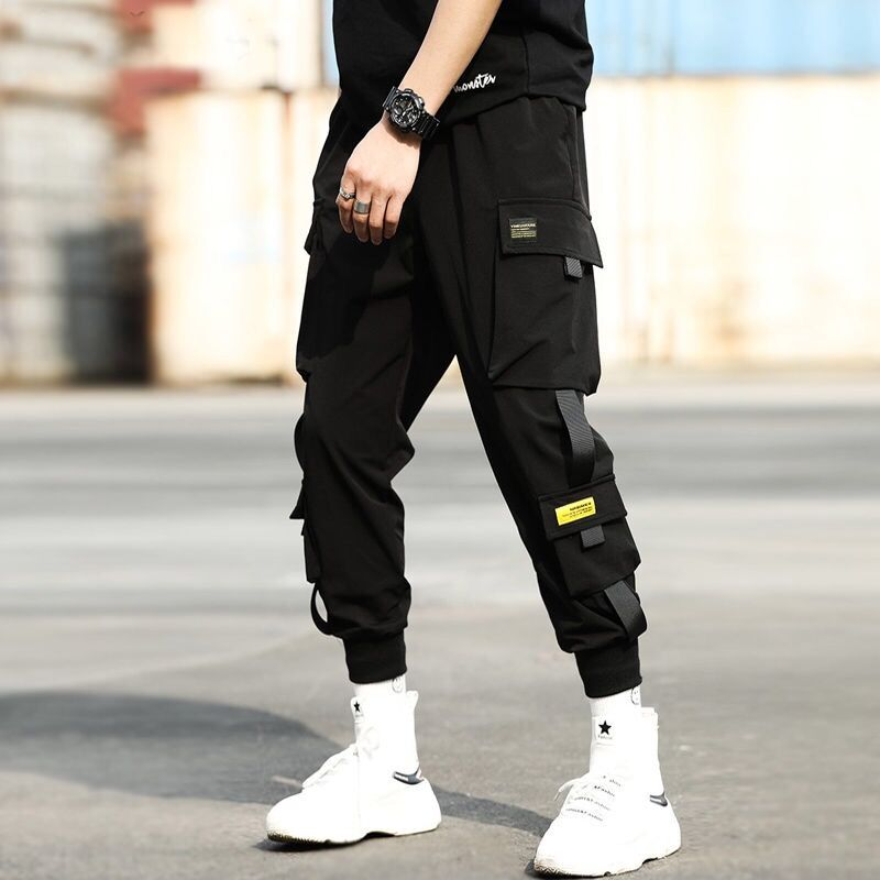 Harem-Pants Trousers Elastic-Waist Streetwear Hip-Hop Slim Black Casual Ribbons