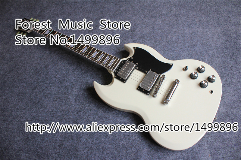 Top Selling China White Finish SG Electric Guitars With Chrome Hardware Left Handed Custom Available high quality flag custom finish left handed es electric guitars china hollow body
