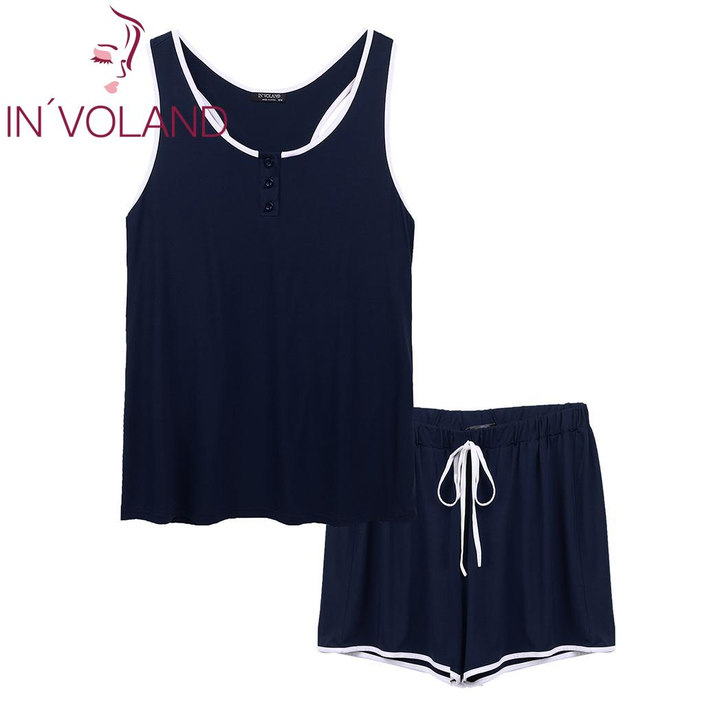 IN'VOLAND Elastic Casual Sleeveless Tank Tops and Short   Pajama     Set   Fashion O-Neck Women Button   Set   High Waist Sexy Sleepwear