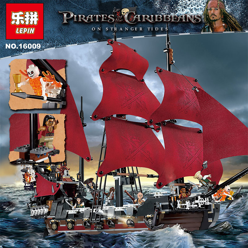 LEPIN 16009 1151pcs Queen Anne's revenge Pirates of the Caribbean Building Blocks Set Bricks Compatible legoed 4195 dhl lepin 22001 imperial warships 16009 queen anne s revenge model building blocks for children pirates toys clone 10210 4195