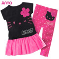 1 Set Retail 2015 Hot Sale Girls set 100% cotton kids clothing set, T-shirt+pant, cartoon children set, 2 colors free shipping