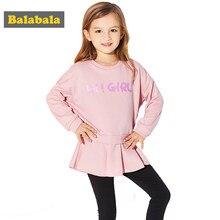 4892d031e Balabala 2018 conjuntos de ropa de primavera para niñas vestido de algodón  + leggings ropa de niños trajes de impresión de letra.