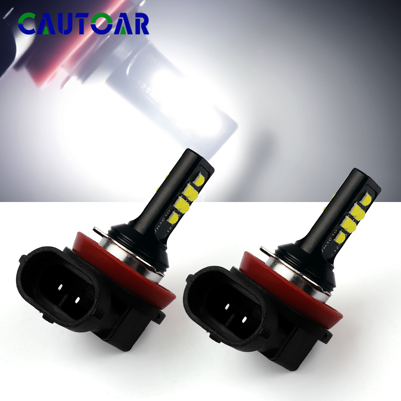 2Pcs Canbus H11 Auto Fog Lights LED Car Super Bright Lights 1200LM 6000K No Error Led Bulbs White 12V Driving Running Lamp