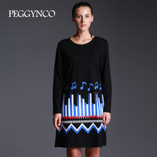 PEGGYNCO Women Print Lanon Dress Vintage Plus size Full sleeve O-neck Casual Vestidos Size XL-5XL