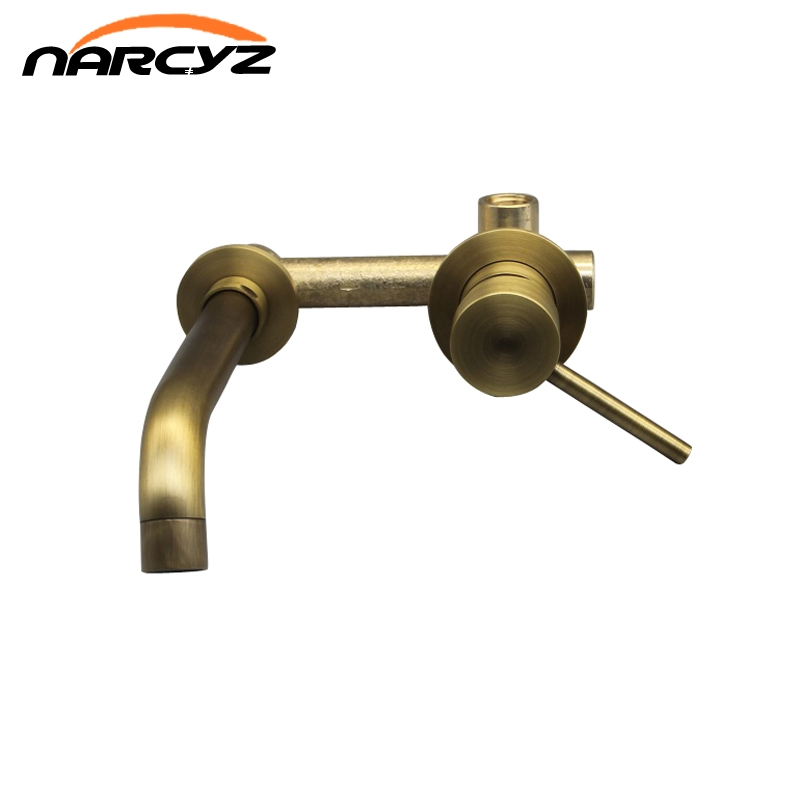 New Wall Mounted Brass Basin Faucet Single Handle Mixer Tap Hot Cold Bathroom Water red bronze Black/Antique Faucet XR8228