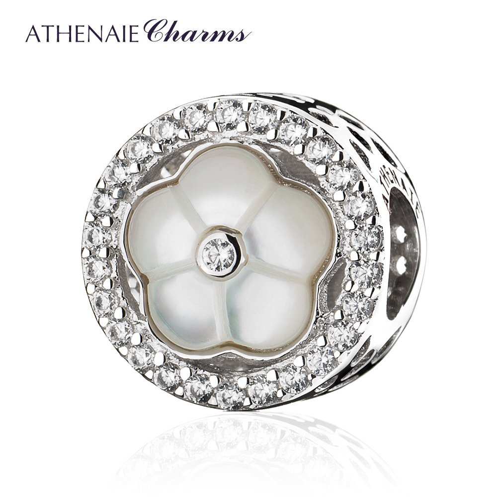 ATHENAIE Real 925 Sterling Silver Clear CZ Wildflower Round Charms Beads fit Women Bracelets Necklaces DIY Jewelry Making wildflower
