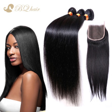 8A Cheap Brazilian Straight Hair 3 Bundles With Lace Closure Rosa Unprocessed Virgin Human Hair With
