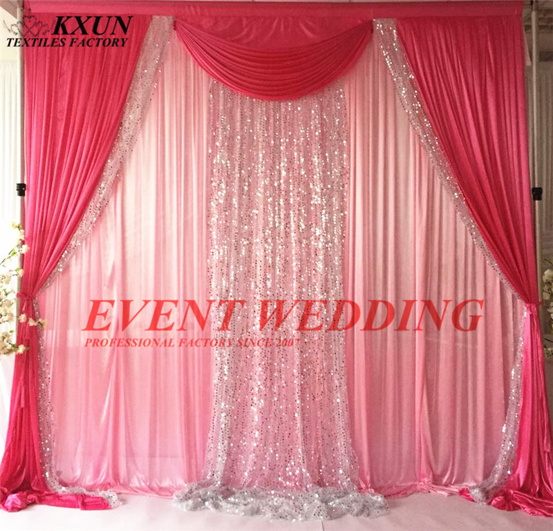2.4m 3m 6m Long Pink And Fuchsia Ice Silk Wedding Backdrop Curtain Include Silver Sequin Drape Fabric Decoration2.4m 3m 6m Long Pink And Fuchsia Ice Silk Wedding Backdrop Curtain Include Silver Sequin Drape Fabric Decoration