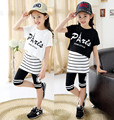 2016 new children's clothing girls summer suit children's sports-old girl three-piece suit girls