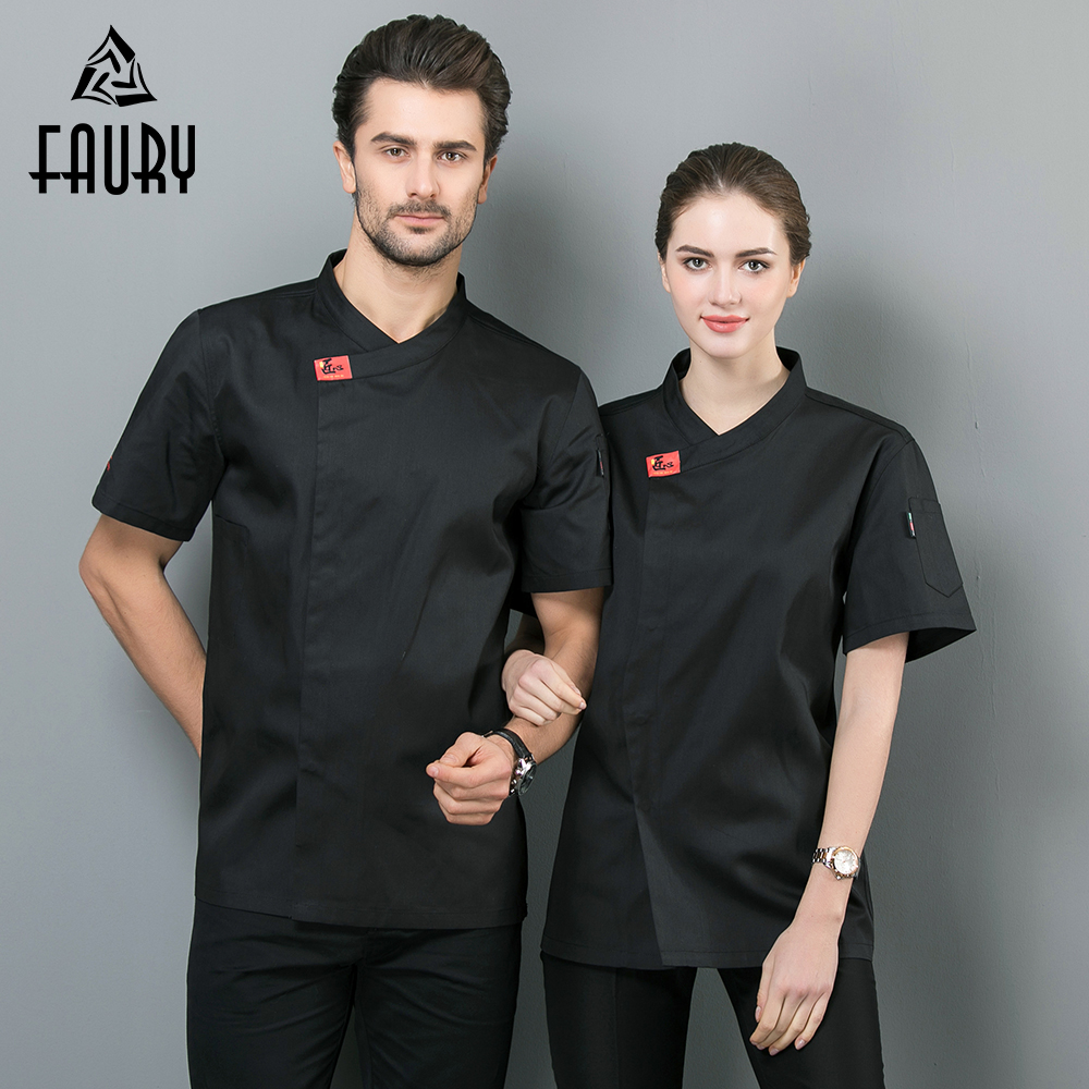 Chef Uniform Black White Bakery Kitchen Cook Chef Jacket Short Sleeve Breathable Cook Shirt Restaurant Cozinha Catering Clothing
