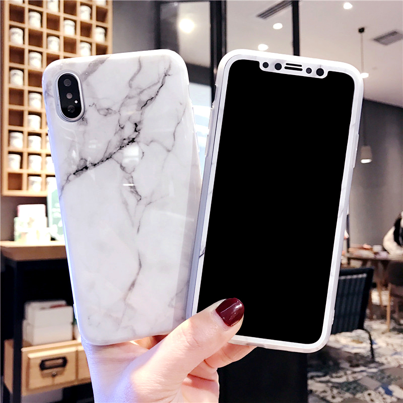 For IPhone X Marble Cases + Tempered Glass Screen Protector Film For IPhone X 5.8inch Ceramic TPU Cover Smooth Case