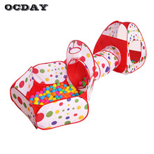 OCDAY Baby Toy Tent for Children Foldable Play House Kids Game piscina de bolinha Tunnel Tent Yard Ocean Ball Pool Outdoor Fun