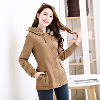 Womens Spring Autumn Casual Jackets Ladies Solid Color Pocket Zipper Front Hooded Collar Long Sleeve Basic