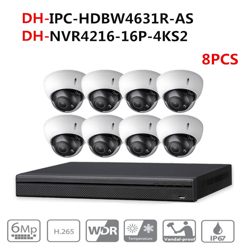 DH CCTV Camera Security System Kit 8PCS 6MP IP Camera IPC-HDBW4631R-AS & 16POE 4K NVR NVR4216-16P-4KS2 security camera systemDH CCTV Camera Security System Kit 8PCS 6MP IP Camera IPC-HDBW4631R-AS & 16POE 4K NVR NVR4216-16P-4KS2 security camera system