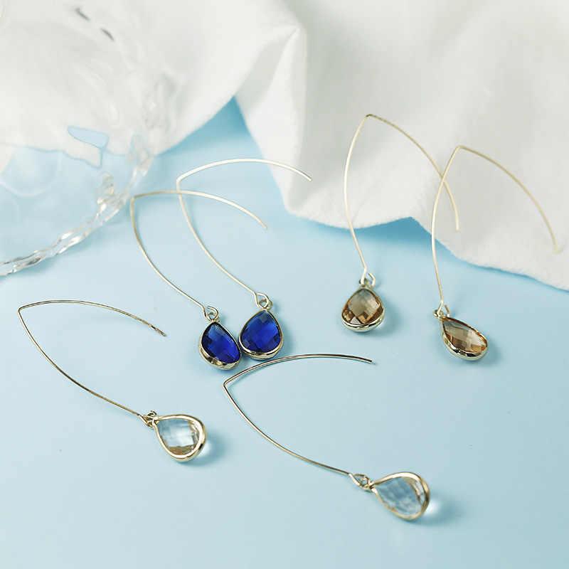 Nuevos pendientes largos únicos para mujeres Color oro rosa 2 quilates AAA + joyas de cristal de circonio cúbico al por mayor